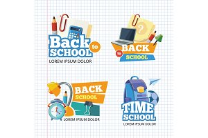 Design template with vector school emblem sets.