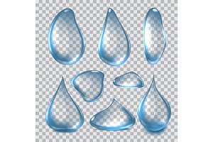 Vector Illustration of Pure Clear Realistic Water Drops