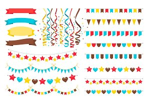 Multicolor garlands, flags and pennant