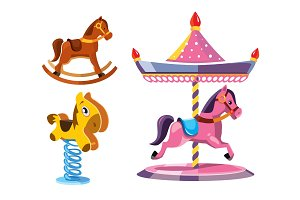 vector illustration set of diferent rocking litle horses