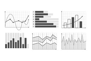 vector illustration of Business graphics and charts set