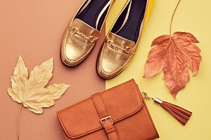 Autumn Arrives. Fashion Lady. Fall Leaves. Minimal