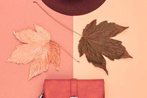 Fall Fashion Minimal Set.Fall Leaves.Vintage