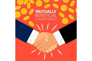Cooperation concept, businessmen handshaking