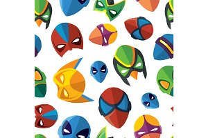 seamless pattern of super hero masks in flat style