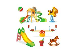 vector icon set of children playground.