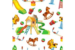 vector seamless pattern of children playground.