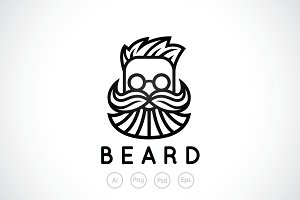 Bearded Man Barber Shop Logo