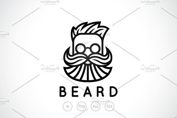 Bearded Man Barber Shop Logo