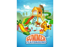 vector poster of children playground.