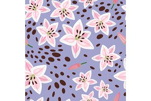 Pink lily on blue background pattern