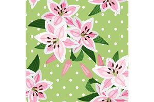 Pink lily on green background pattern