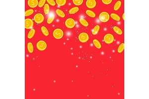 Golden coins rain on red background