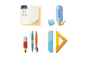 vector set of cartoon stationery illustration