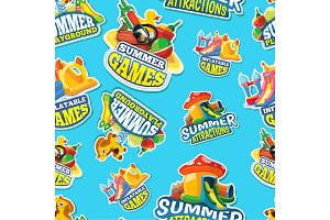 Vector seamless pattern of summer games on inflatable playground