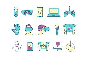 set of linear icons virtual reality accessories