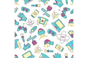 set of linear icons virtual reality accessories. seamless pattern