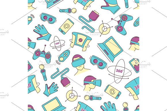 Set Of Linear Icons Virtual Reality Accessories Seamless Pattern