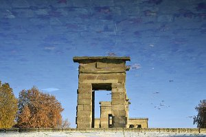 reflection in water Debod Temple