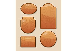 vector Set of wooden boards with diferent shapes