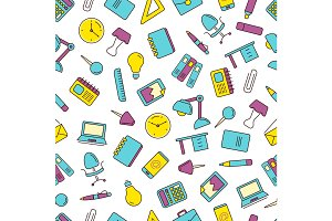 vector seamless pattern with icons set of stationery