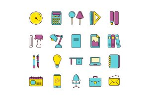 vector icons set of stationery