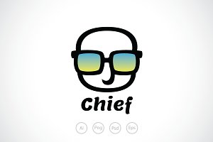 Baldy Chief The Boss Logo Template