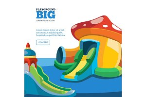 Vector illustration of inflatable castles and children hills on playground