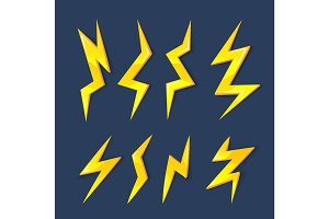vector cartoon illustration set of Lightning Bolts.