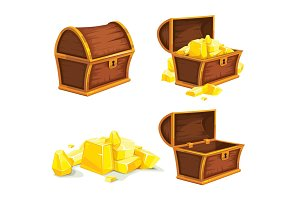 vector illustration of vintage wooden chest with gold