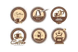 vector set of monochrome coffee emblems, labels, badges logos.