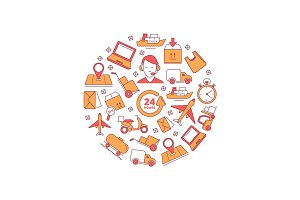 illustrations in circle shape of logistics and delivery