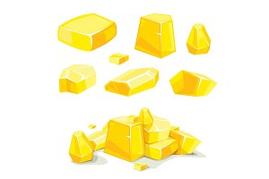 vector Set of different golden boulders
