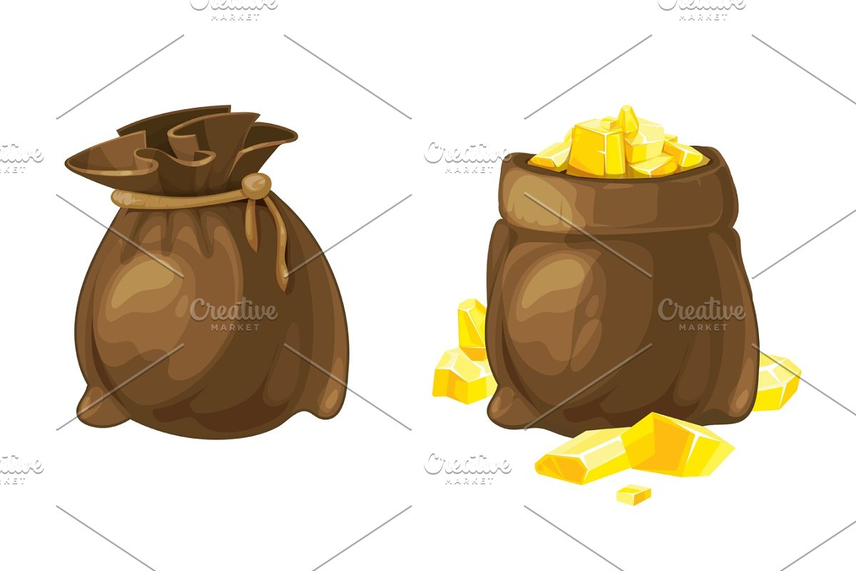 Set of two bags with gold. Vector illustration.