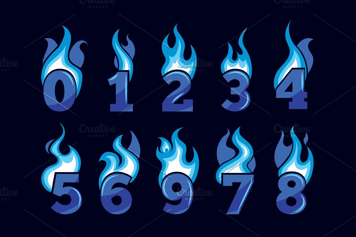 vector cartoon icons set of blue Flaming Numbers in Objects