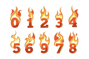 vector icons set of Flaming Numbers.