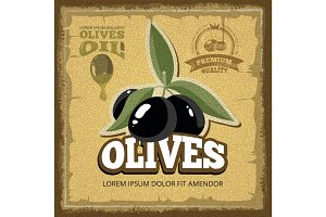 vector vintage poster of premium quality Olives with leaf.