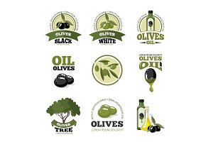 vector illustrations set of Olives