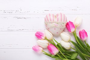 White and pink tulips and heart