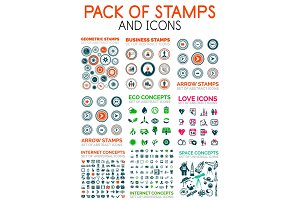 Mega pack of stamps and technology web icons design elements