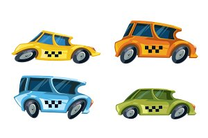 vector ilustration of color taxi cars