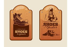 advertisement wood panels for shoes repair workshop