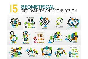 Mega collection of vector digital infographics diagram template with stickers