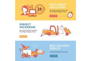 Banners set with vector linear Icons of logistics and delivery