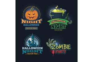 vector illustration set of halloween badges