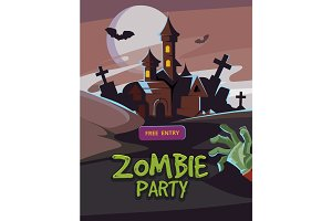 Zombie party vector illustration.