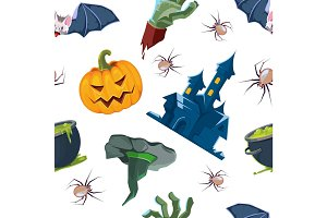 vector illustration of Halloween icons set