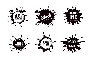 Vector set of ink splashes, blots. Splatter collection.
