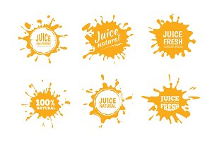 Vector illustration set of Yellow juice or honey splashes