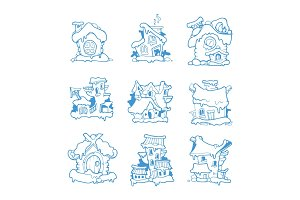Big Set of vector hand drawn winter houses